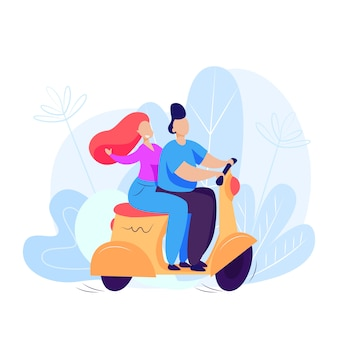 Man and woman riding scooter