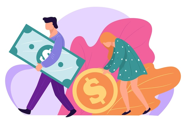 Man and woman saving money for future, male and female with banknotes and coins