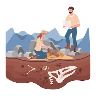 Man and woman scientists in history expedition vector flat illustration