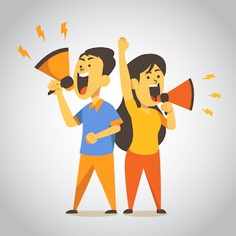 Man and woman shouting illustration