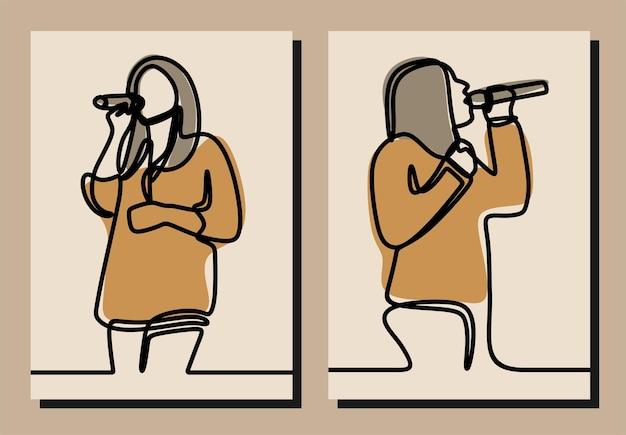 Man woman sing oneline continuous line art premium vector set