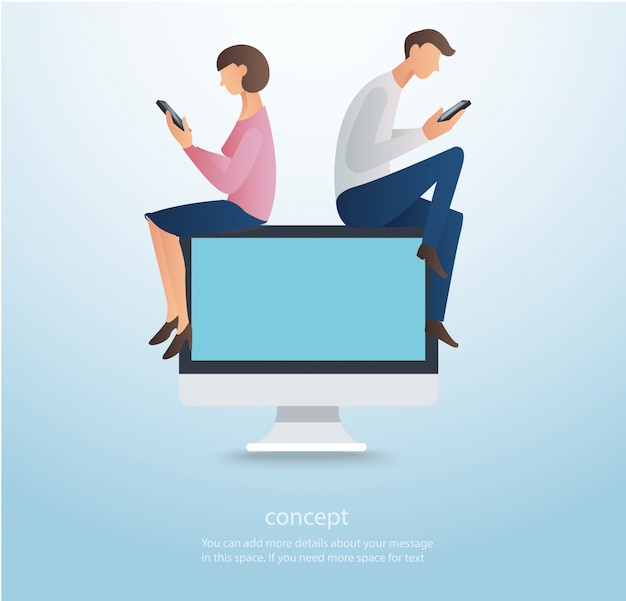 Man and woman sitting on computer vector