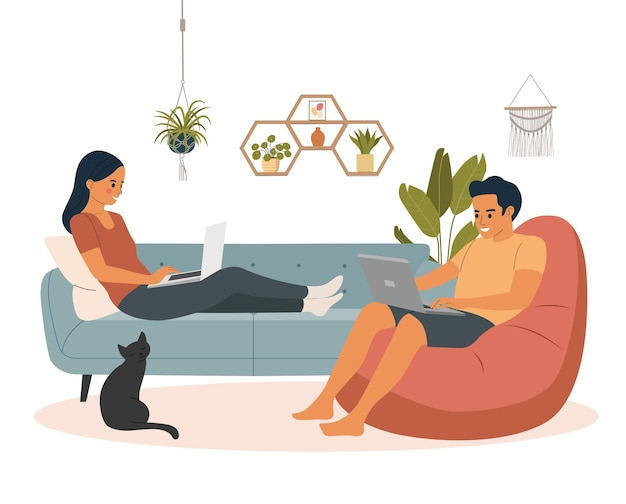 Man and woman sitting on the sofa and chair  with laptops. ð¡at is standing next to the sofa. vector flat illustration