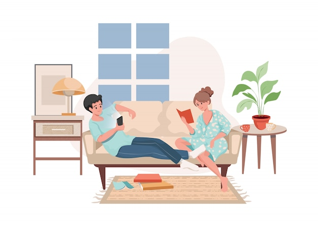 Man and woman sitting on sofa, surf on the internet, and read books flat illustration.