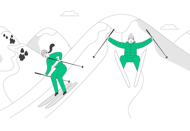 Man and woman skiers riding skis downhill