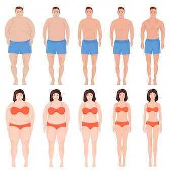 Man and woman slimming process