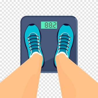 Man or woman in sneakers stands on the floor scales. weight measure equipment or tool. vector illustration isolated on transparent background.