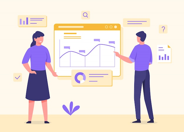 Man and woman standing in front screen reading analyzing statistical data with flat cartoon style.