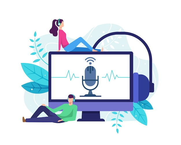 Man and woman streaming online radio