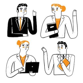 남자, 여자, 학생 또는 사업가, 비서가 이야기하거나 프레젠테이션을 합니다. 벡터 일러스트 레이 션 손 그리기 낙서 스타일
