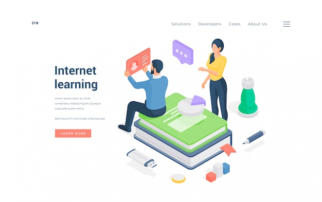 Man and woman studying in internet.   illustration