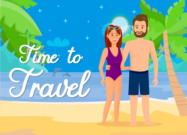 Man and woman in swimsuits on beach illustration.