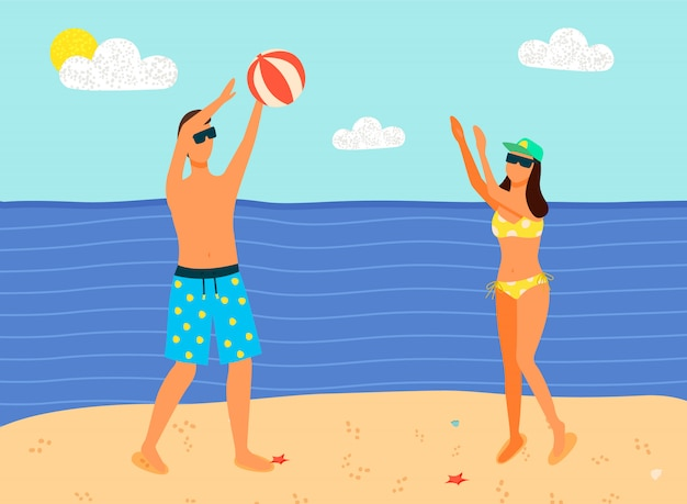 Man and woman in swimsuits playing inflatable ball