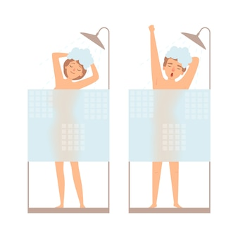 Man and woman take a shower. hygiene  concept