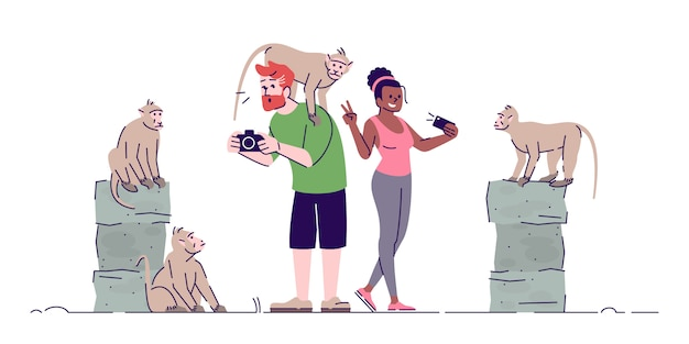 Man and woman taking photos of primates flat doodle illustration