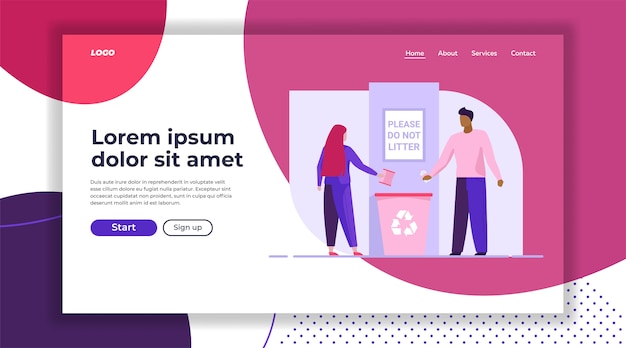 Man and woman throwing litter in recycling bin landing page template