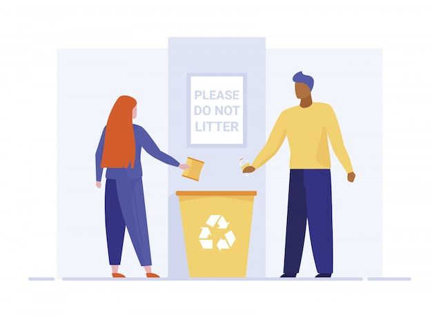 Man and woman throwing litter in recycling bin