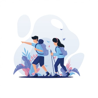 Man and woman trekking