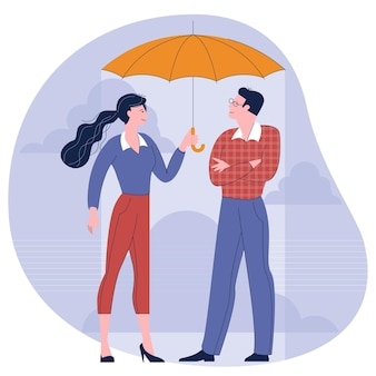 Man and woman under an umbrella flat design concept illustration