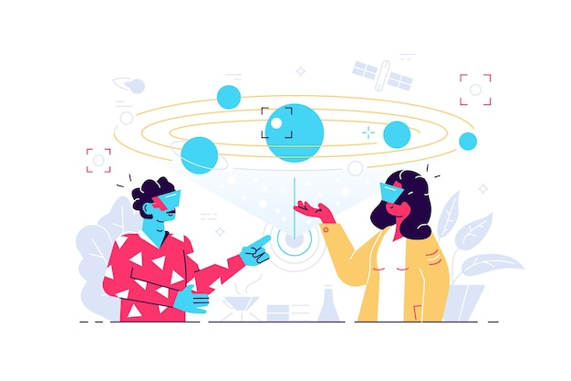Man and woman using vr headsets on white background