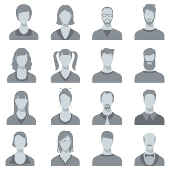 Man and woman vector face portrait silhouettes. male and female heads