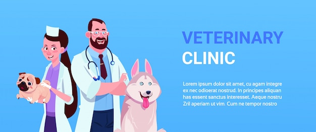 Man and woman vet doctors with dog.  veterinary clinic concept template