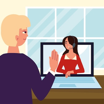 Man and woman video virtual