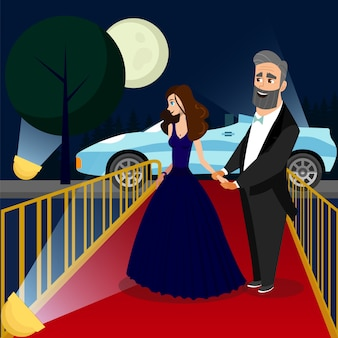 Man and woman at vip event color illustration.