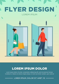 Man and woman walking through doorways for males and females. public toilet, restroom flat vector illustration. washroom, segregation concept for banner, website design or landing web page