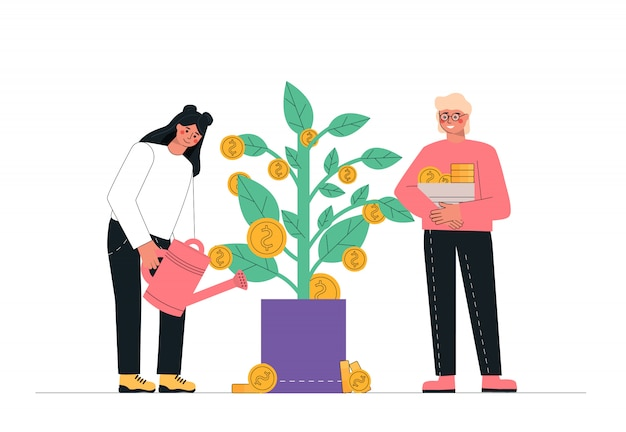 Man and woman watering money tree, passive income, investment, finance savings.