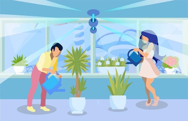 Man, woman watering pot plants flat illustration