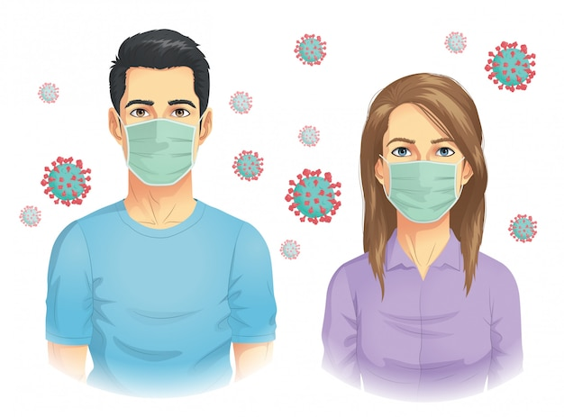 Man and woman wear mask in coronavirus outbreak