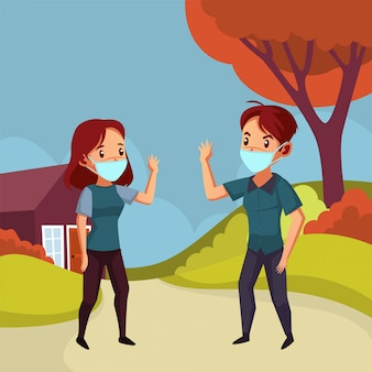 Man and woman wear mask try not to do handshake to avoid