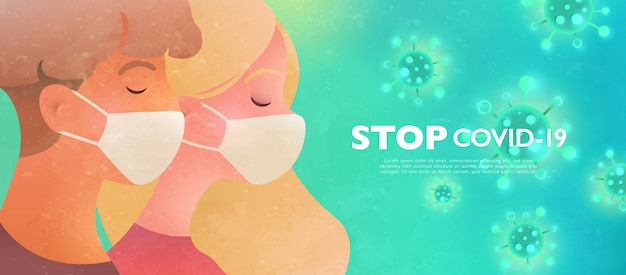 Man and woman wearing face masks protecting themselves from the virus. stop virus concept illustration. design banner template.