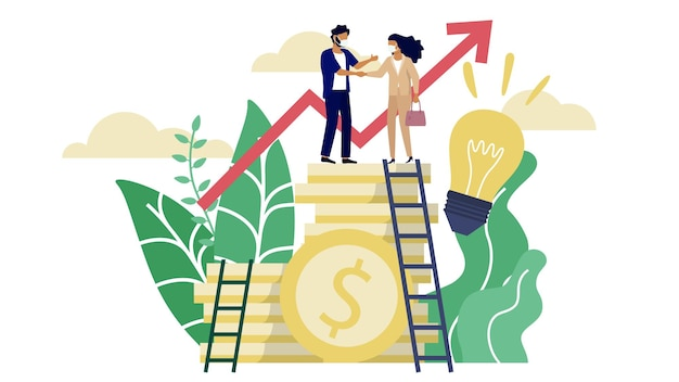 A man and woman wearing mask complete business deal over the tower of golden dollar coin in minimal design