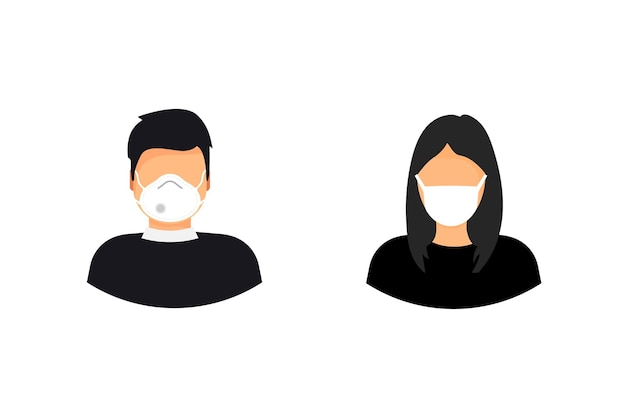 Man and woman wearing medical face mask. epidemic, flu protection, avoiding virus. coronavirus. 2019-ncov. quarantine. people wearing medical masks to prevent disease, flu