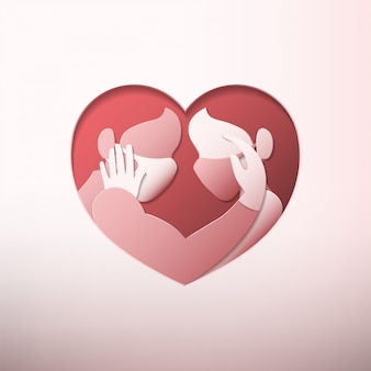 Man and woman wearing medical face masks and rubber gloves inside heart shaped frame in paper art style