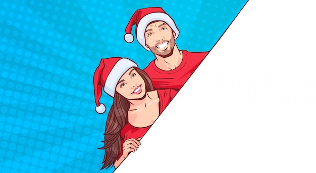Man and woman wearing santa hats advertisement banner with template space for text over retro pin up