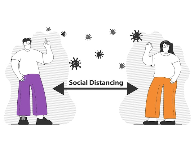 Man and woman wearing surgical mask social distancing to prevent coronavirus