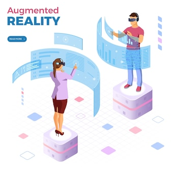 Man and woman wearing virtual reality glasses with augmented reality web banner