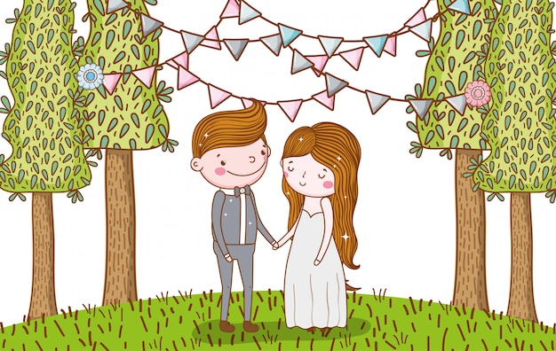 Man and woman wedding with party flags