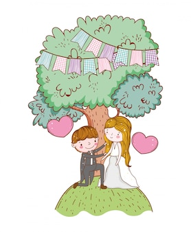 Man and woman wedding with tree and hearts