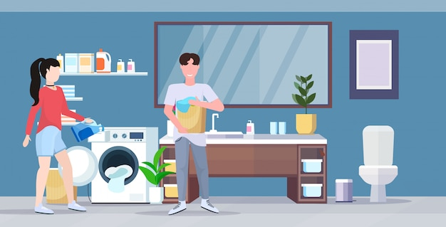 Man woman with basket of clothes couple loading laundry to washing machine doing housework housekeeping concept modern bathroom interior cartoon character full length flat horizontal