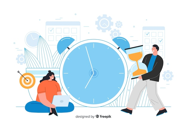 Man and woman with big clock screen landing page