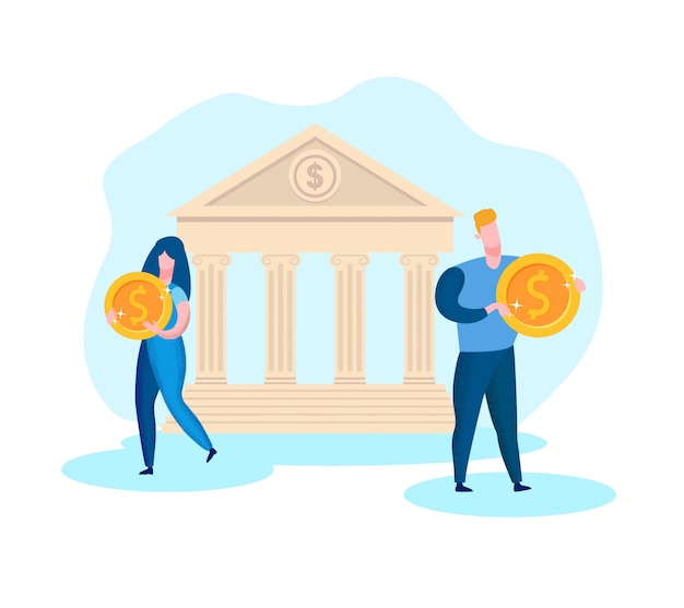 Man and woman with coin in hand on bank