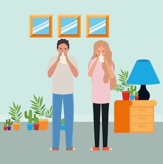 Man and woman with cold holding tissue in room design of medical care hygiene health emergency aid exam clinic and patient theme  illustration