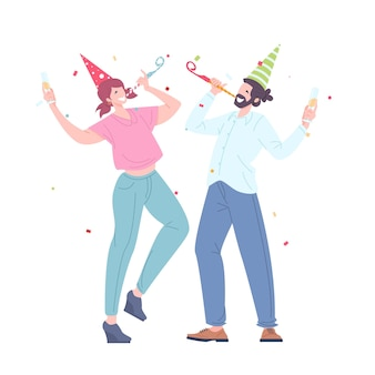 Man and woman with festive pipes, caps and champagne dancing. happy young persons celebrate on corporate holiday. party holiday. flat vector illustration