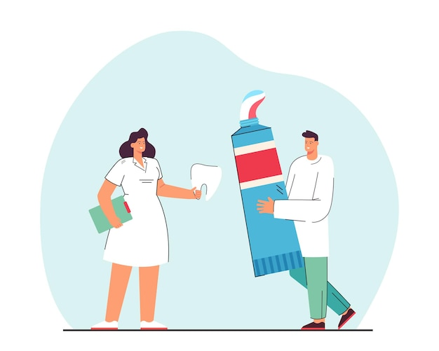 Man and woman with giant toothpaste and tooth. flat illustration