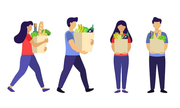 Man an woman with grocery bags isolated on white background food grocery shopping set healthy eating