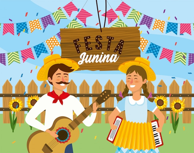 Man and woman with guitar and accordion to festival
